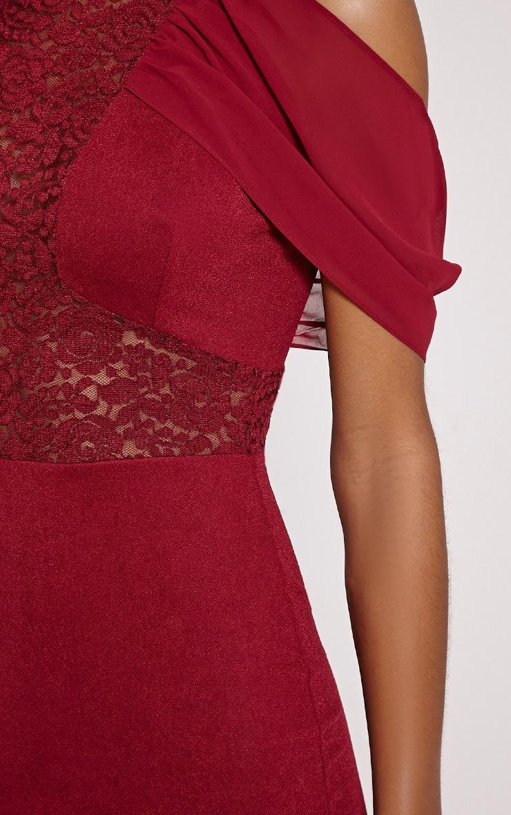 Taya Oxblood Lace Insert Frill Midi Dress 4