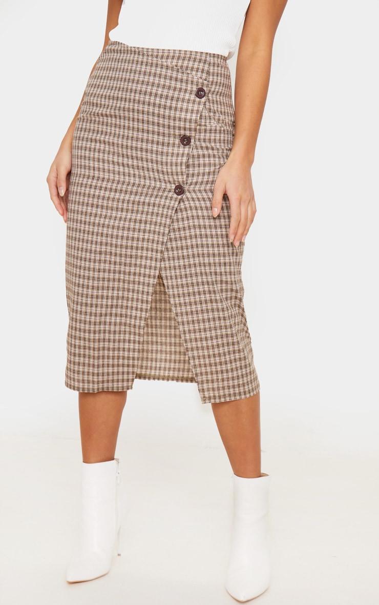 Petite Brown Checked Button Midi Skirt 2