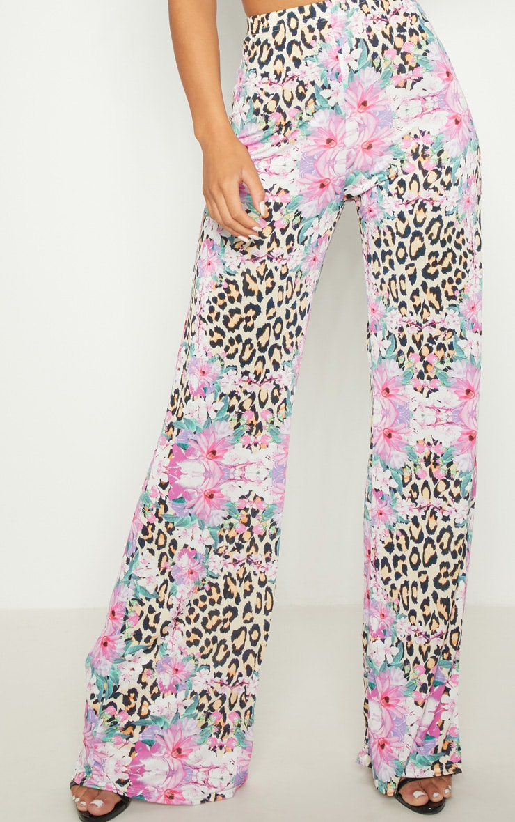 Pink Slinky Mixed Print Flare Trouser  4
