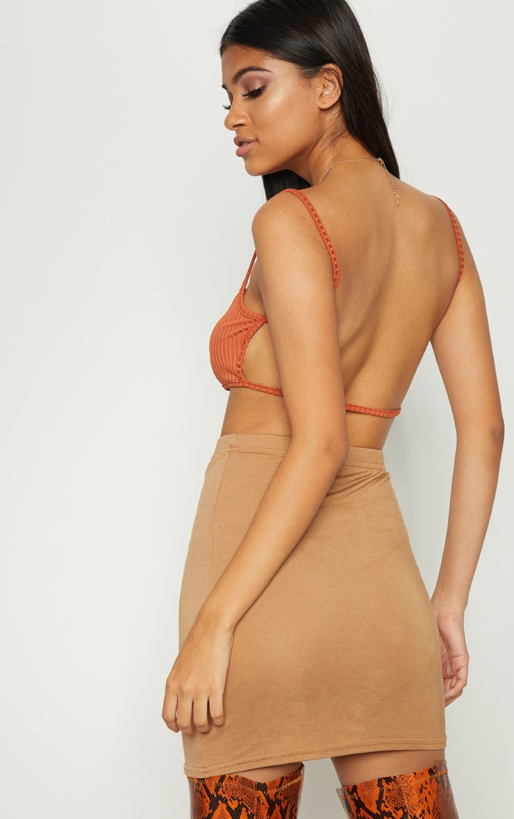 Burnt Orange Rib Strappy Back Bralet 2