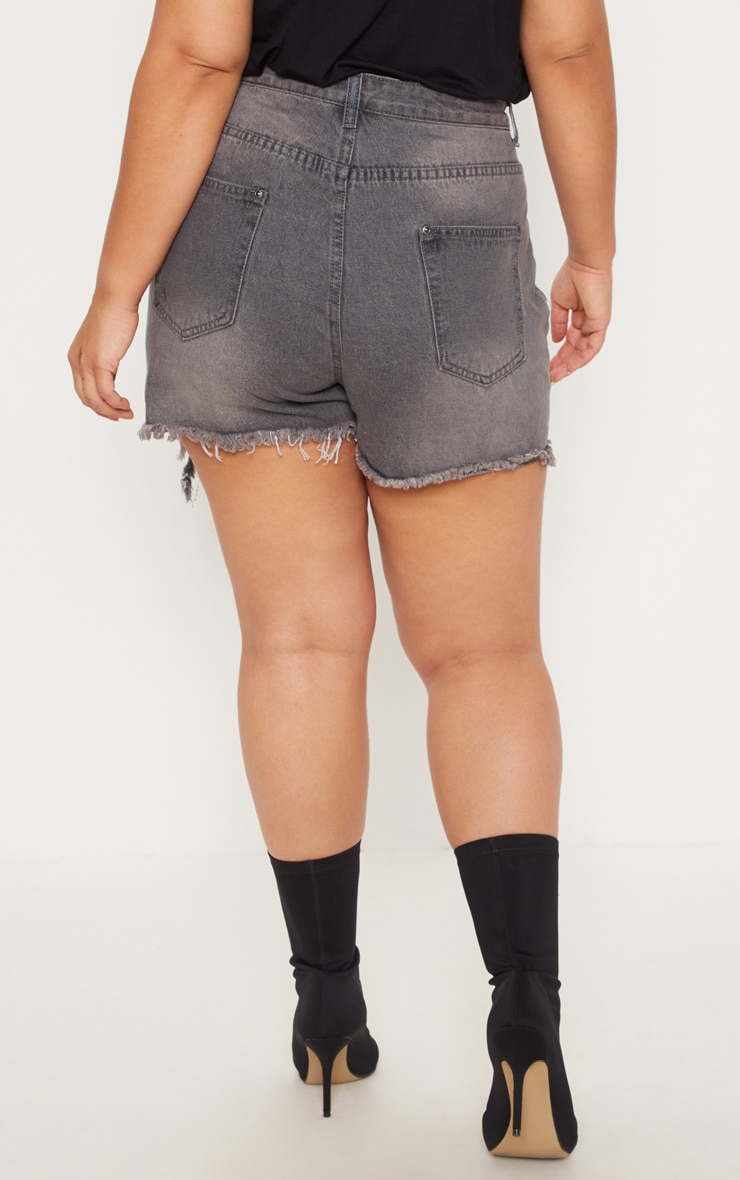 Plus Grey Extreme Rip Denim Shorts 3