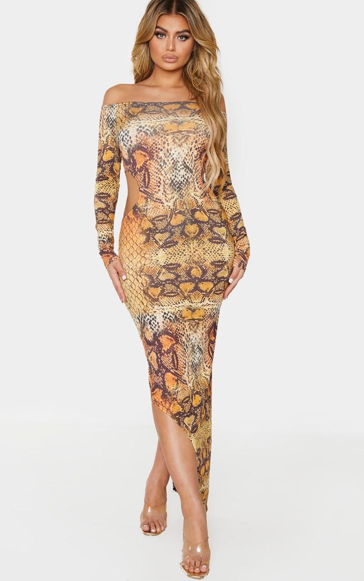 Longue robe orange asymétrique très découpée à imprimé serpent  1