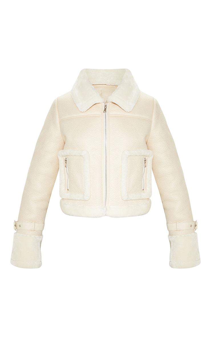 Cream Borg Trim Cropped PU Jacket 3