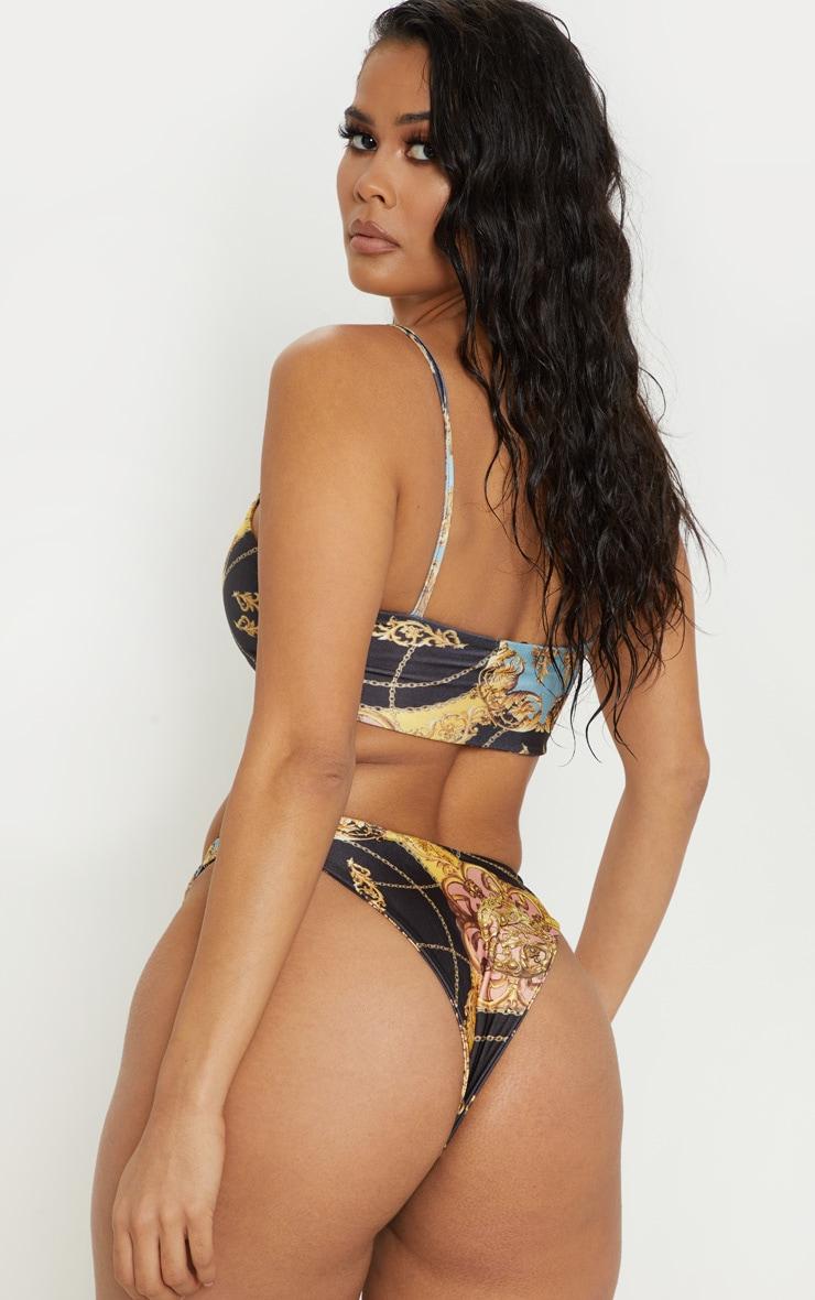 Baroque Print Scoop Neck Bikini Top 2