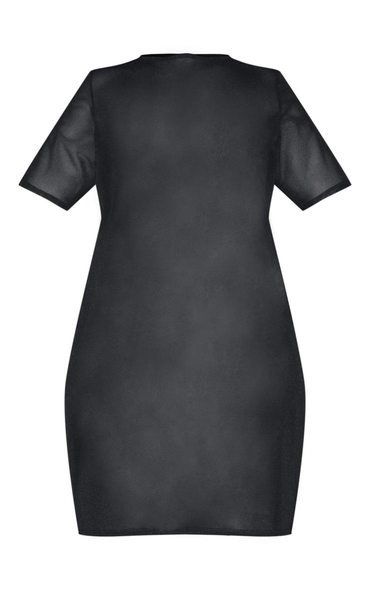 Plus Black Mesh T Shirt Dress 3