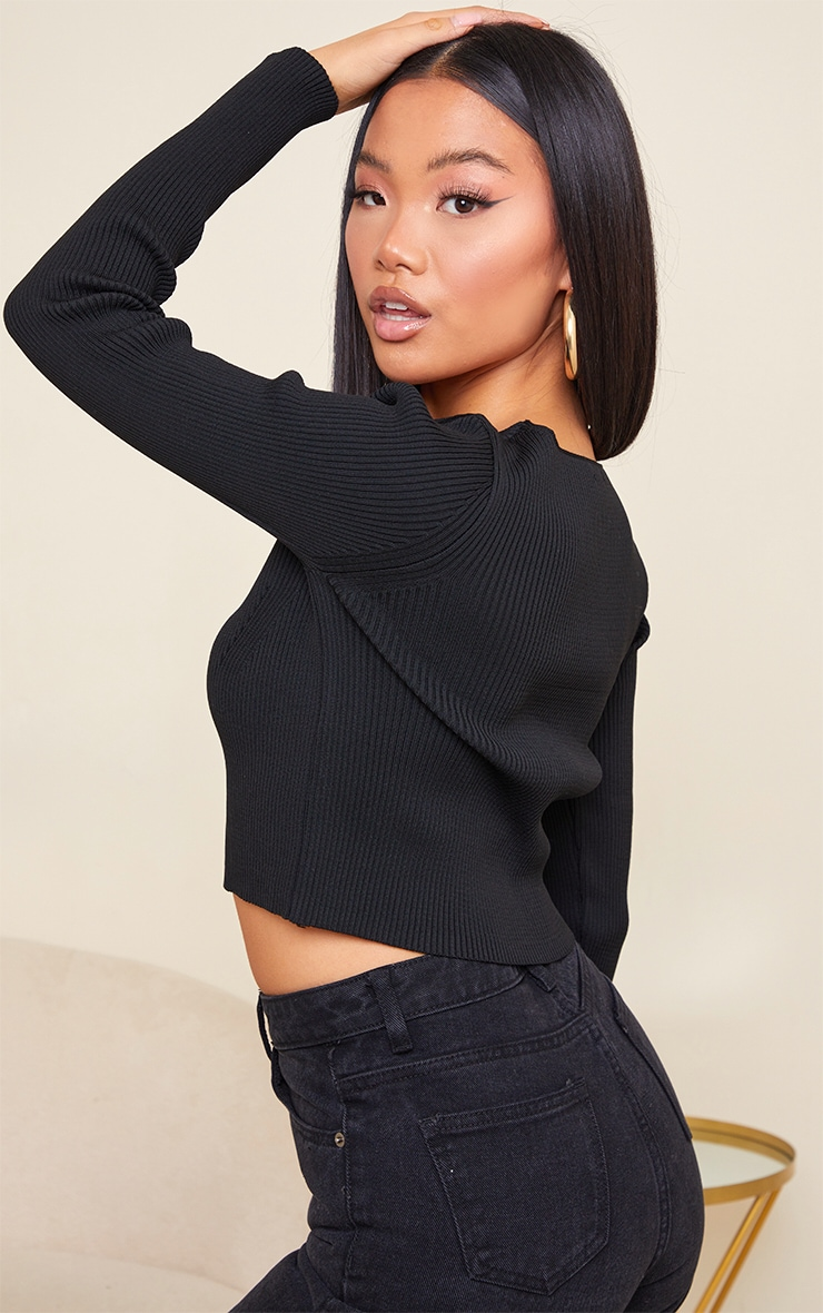 Petite Black Heavy Rib V Neck Crop Top 2