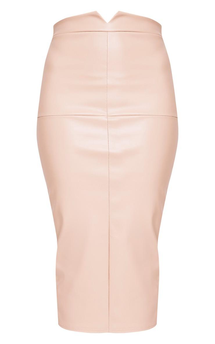 Eva Nude Faux Leather Panel Midi Skirt 3