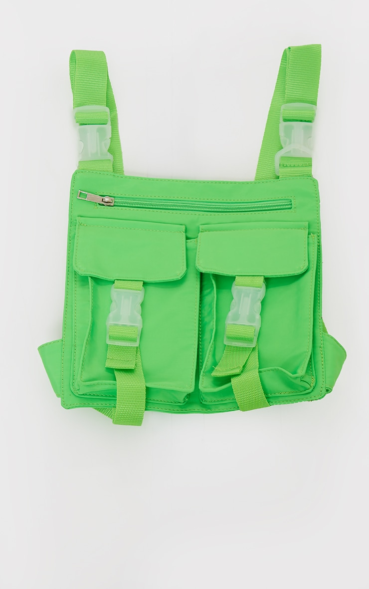 Bright Green Multi Pocket Cross Body Bag 2