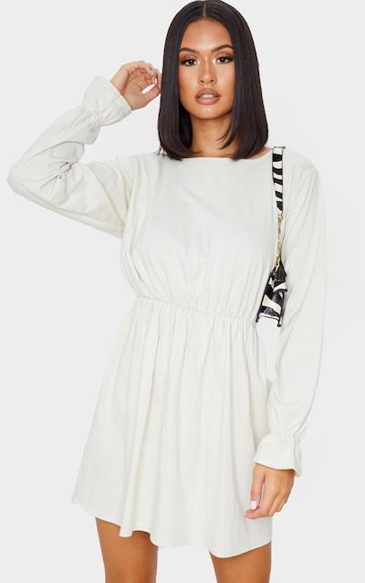 Ecru Long Sleeve Frill Cotton Elastane Cuff Smock Dress