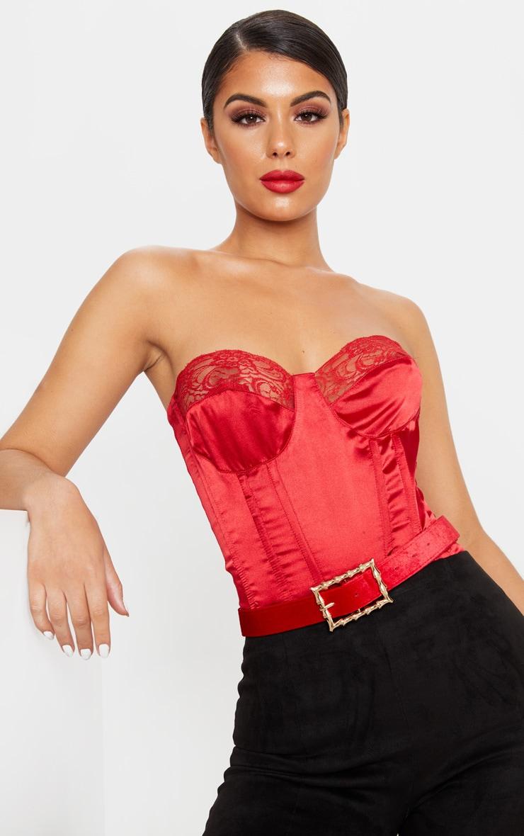 Scarlet Red Velvet Bamboo Buckle Belt 1