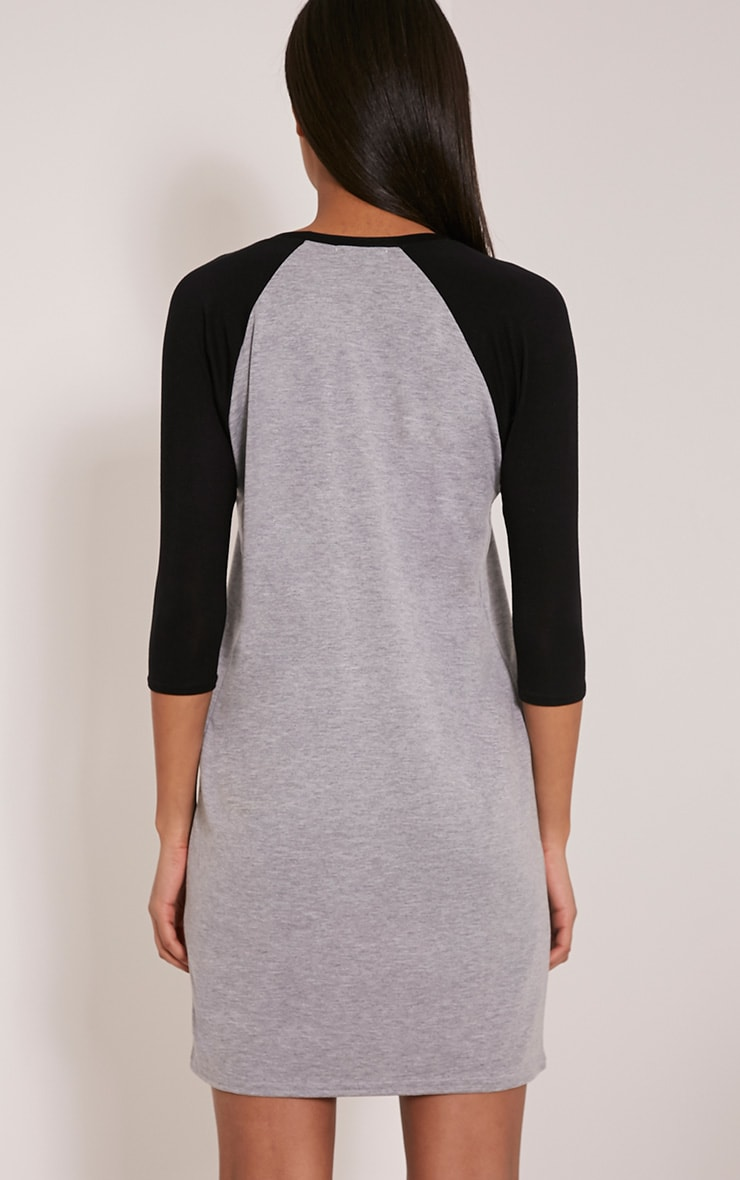 Kalei Grey Contrast Raglan Sleeve T Shirt Dress 2