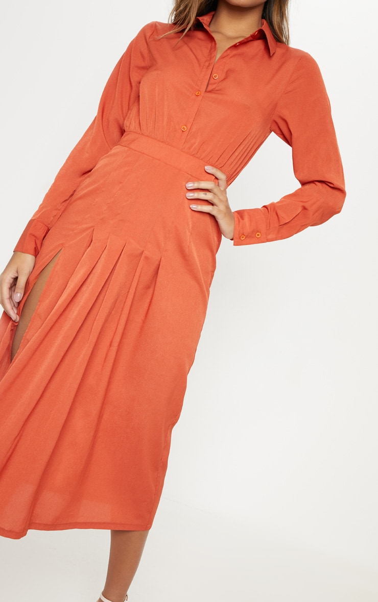Rust Long Sleeve Midi Shirt Dress 5