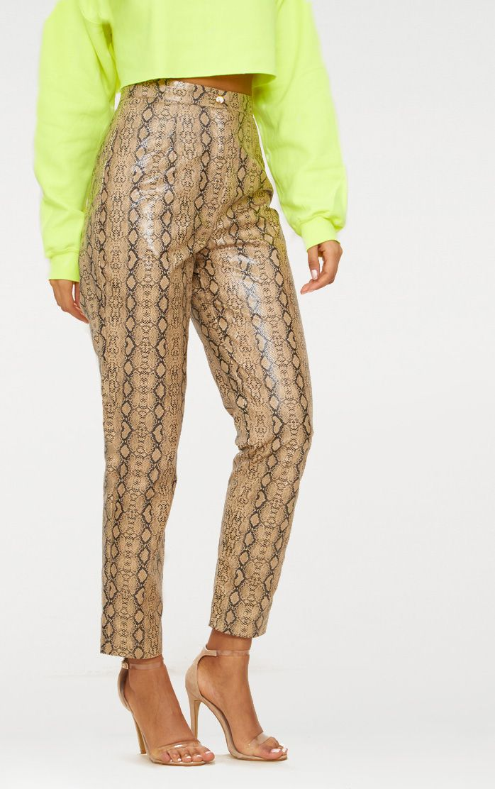 Taupe Faux Leather Snake Print Slim Leg Trousers 2