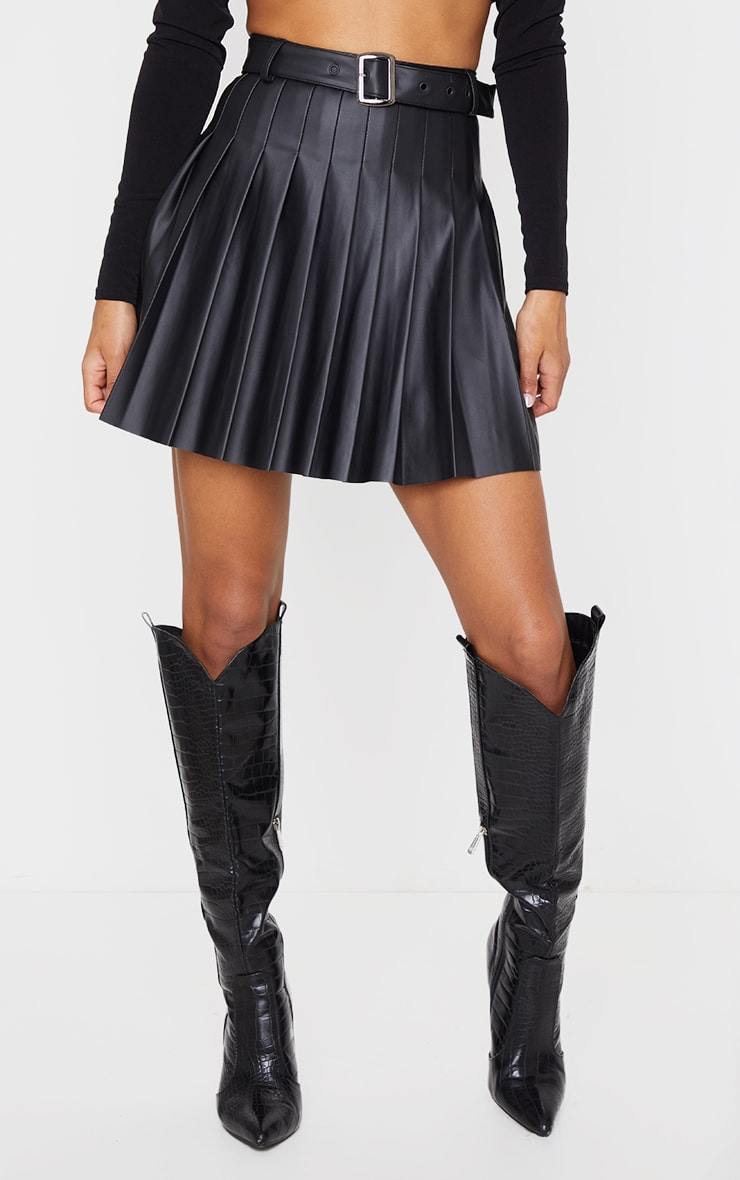 Black Faux Leather Belted Skater Skirt 2
