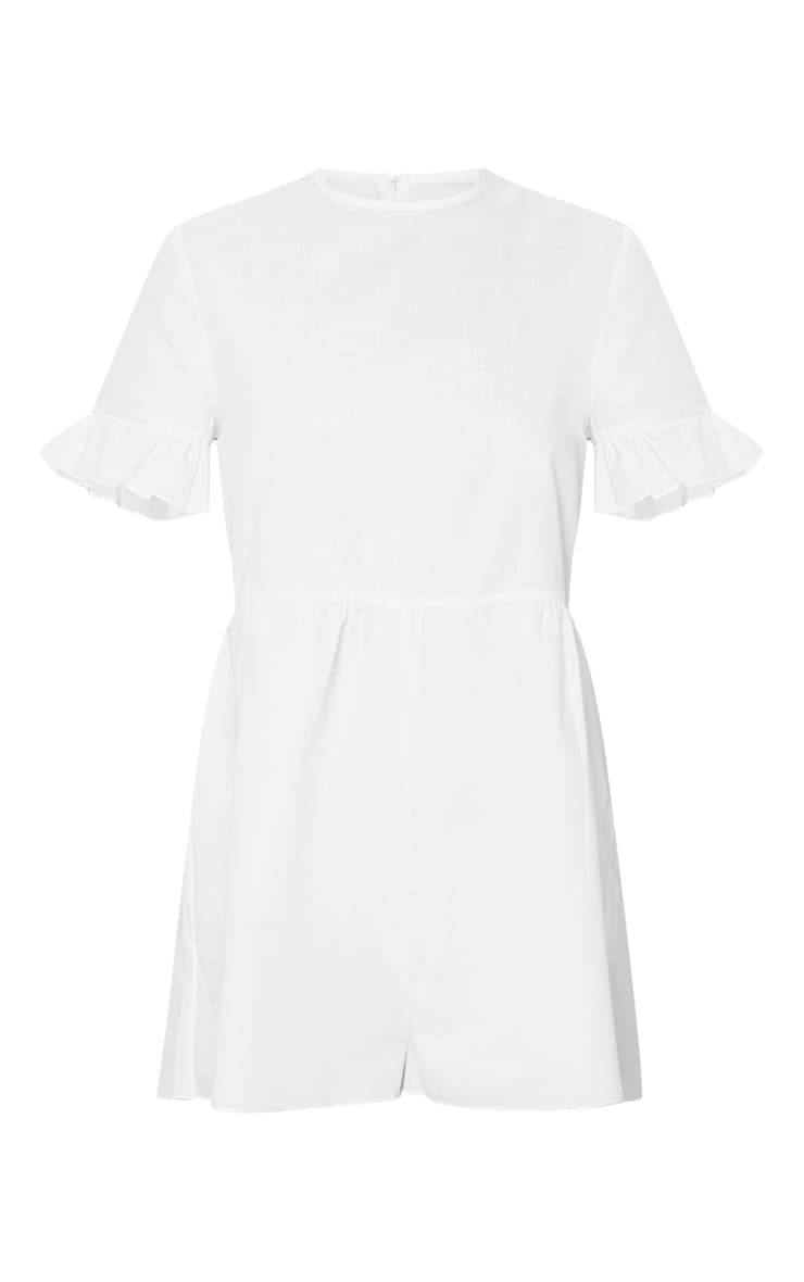 Petite White Oversized Woven Smock Playsuit 5