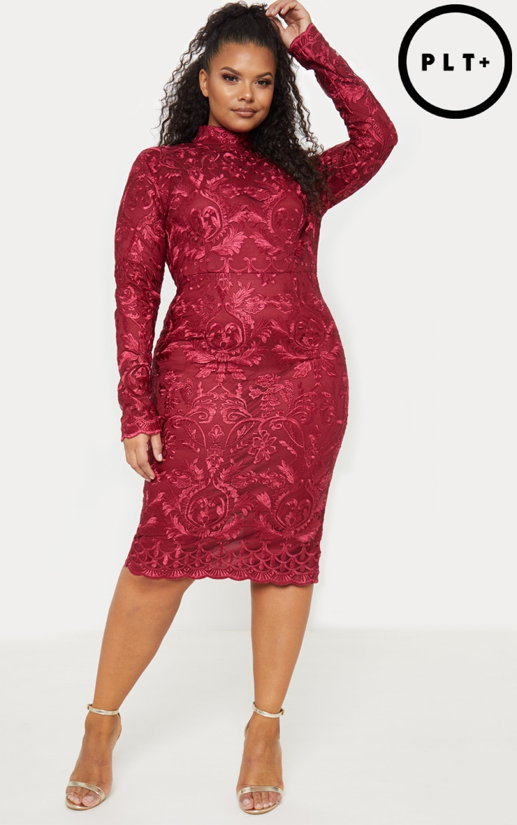 Plus Burgundy High Neck Embroidered Lace Midi Dress