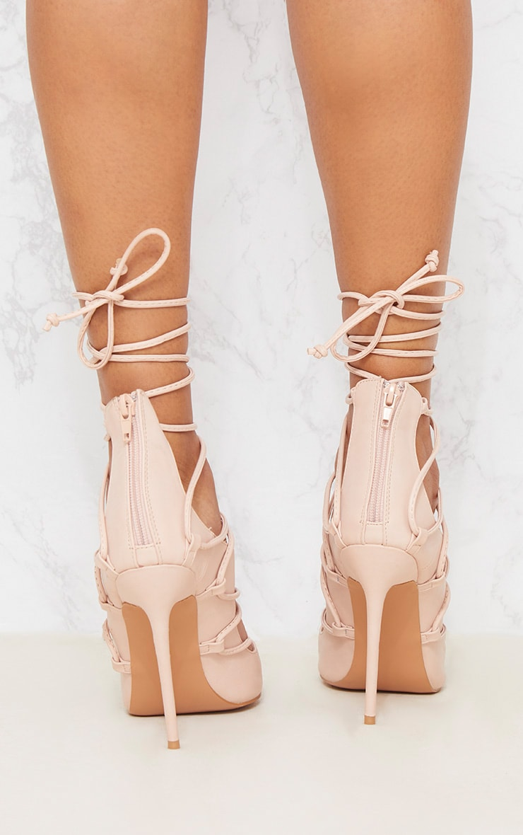 Nude Ankle Lace Up Heel 4