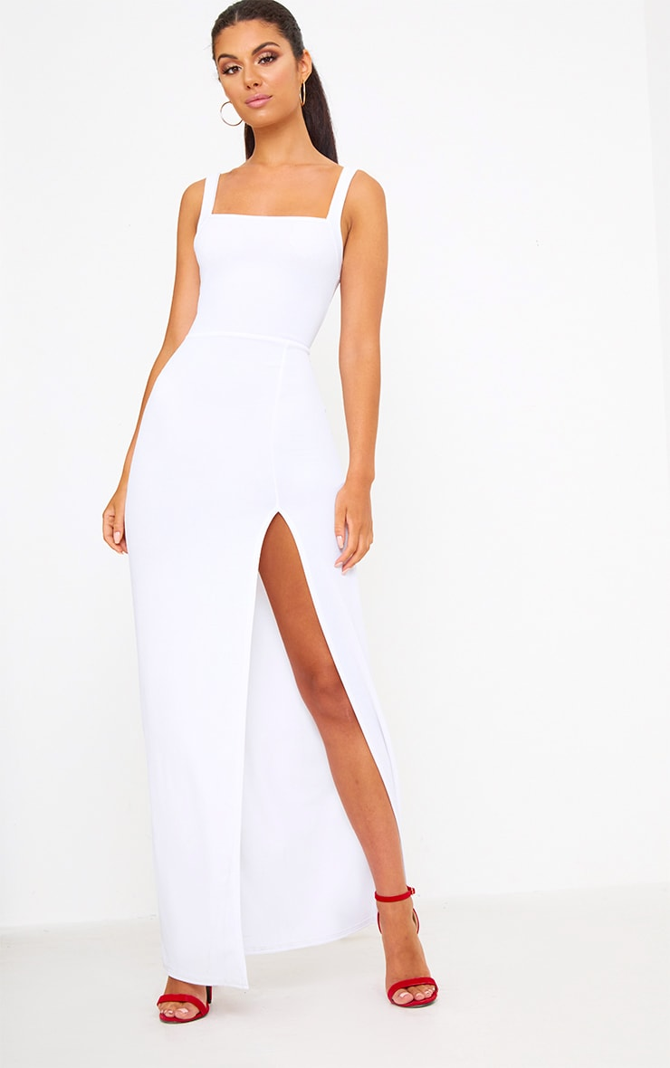 White Straight Neck Maxi Dress 1