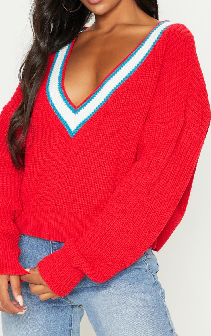 Red V Neck Knitted Jumper  5