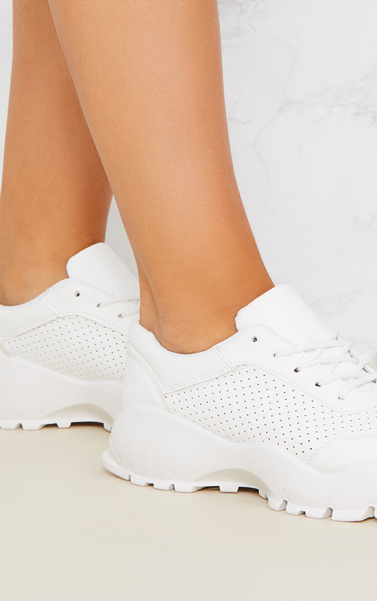 White Chunky Lace Up Trainer 4