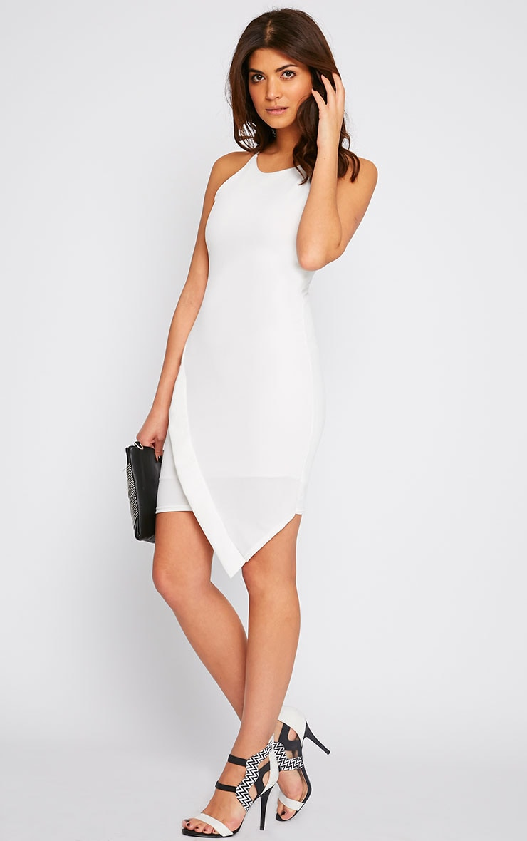 Vanessa Cream Racer Neck Wrap Front Midi Dress 1
