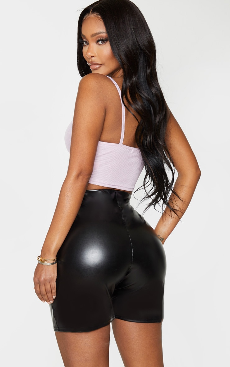 Shape Lilac Ribbed Zip Front Strappy Crop Top 2