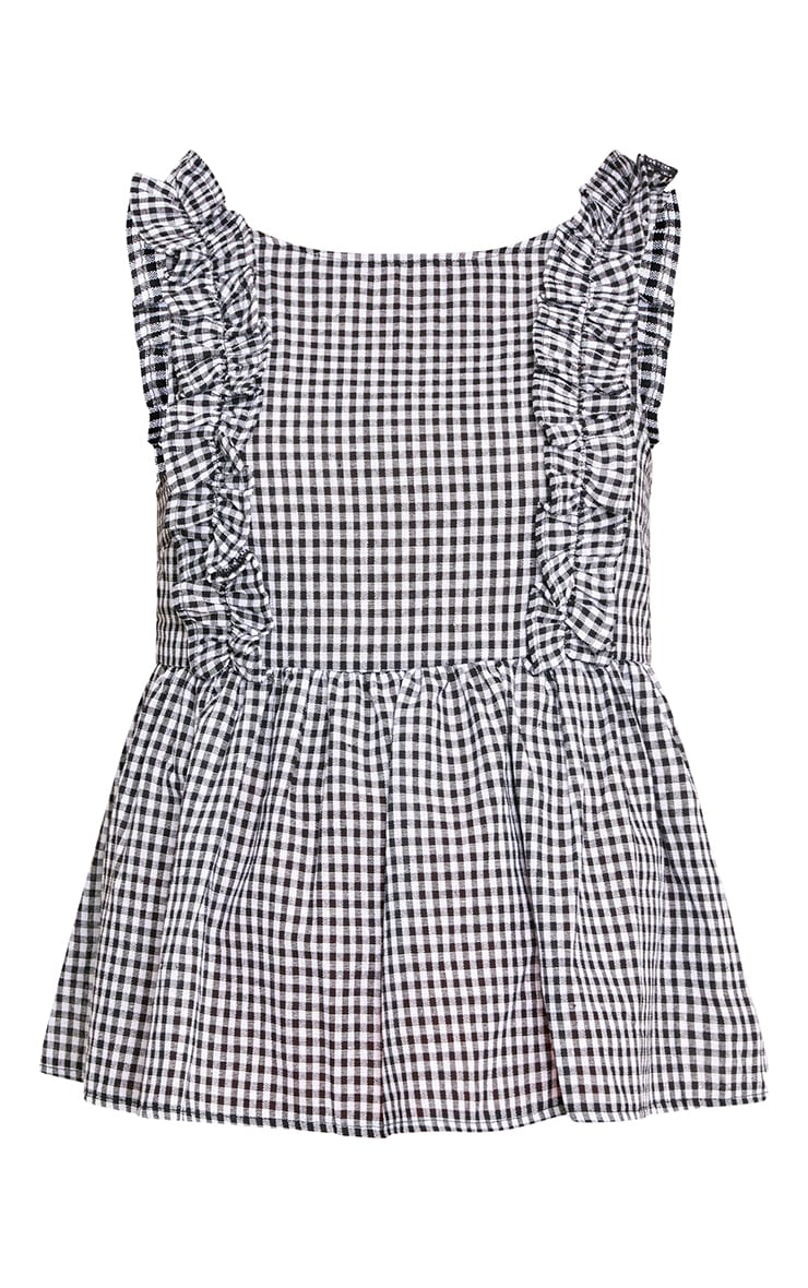 Black Gingham Frill Smock Top 3