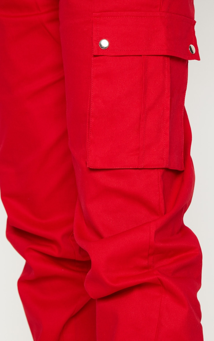 Petite Red Pocket Detail Cargo Trousers 5