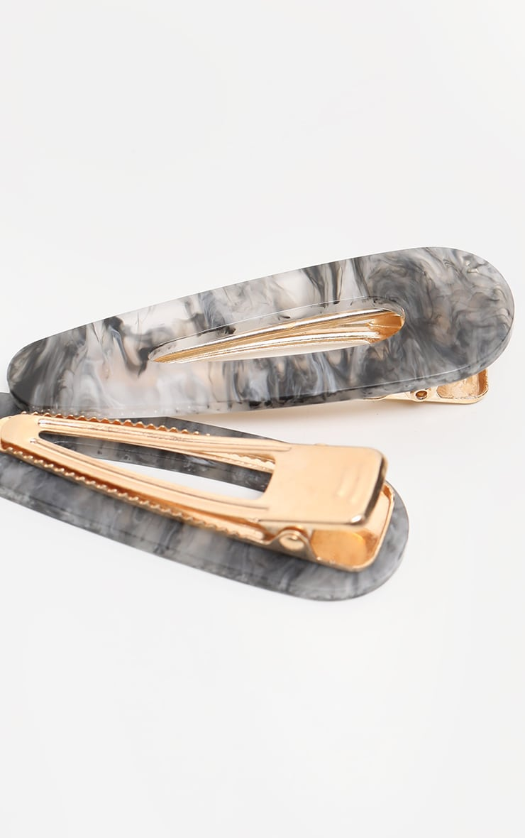 Grey Smoky Marble Effect Large Two Pack Clip 3