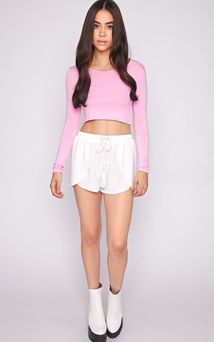 Suzy Pink Long Sleeved Crop Top  3