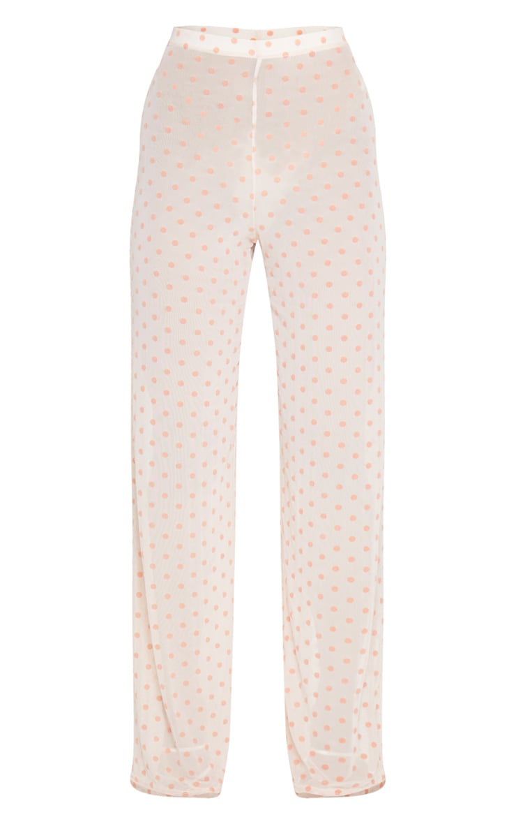 Light Pink Polka Dot Printed High Waist Wide Leg Pants 5