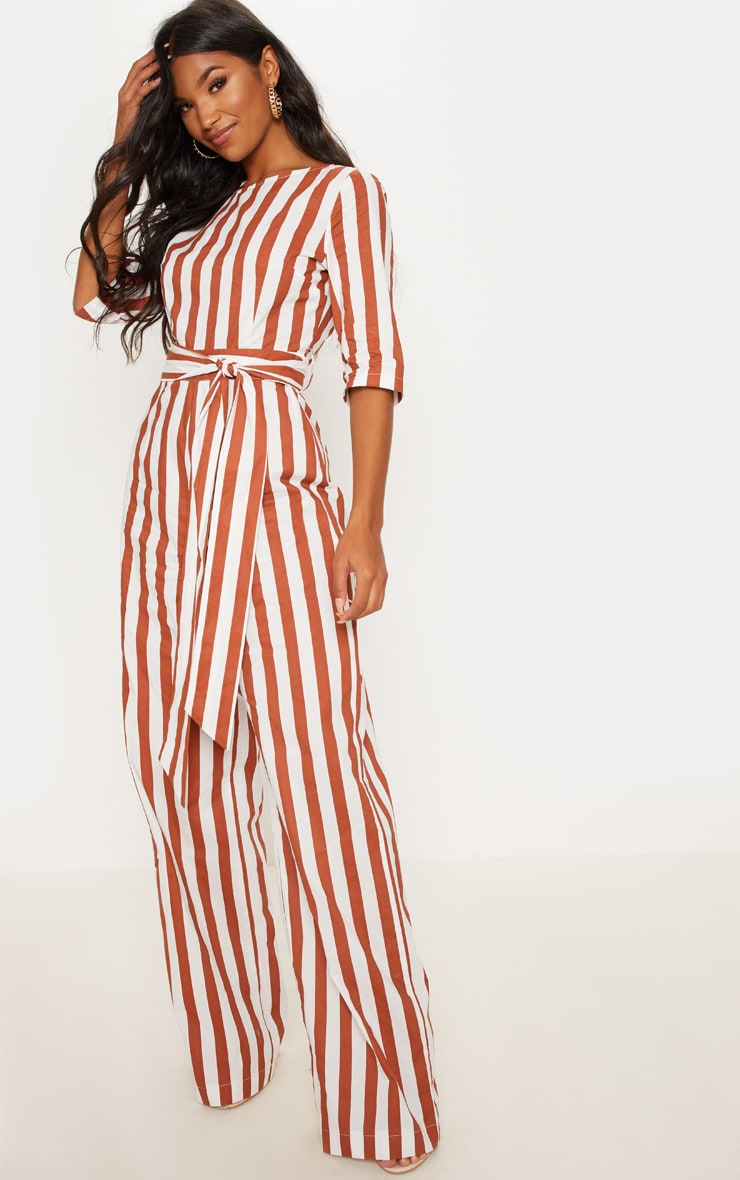 Rust Stripe Tie Detail Jumpsuit  3