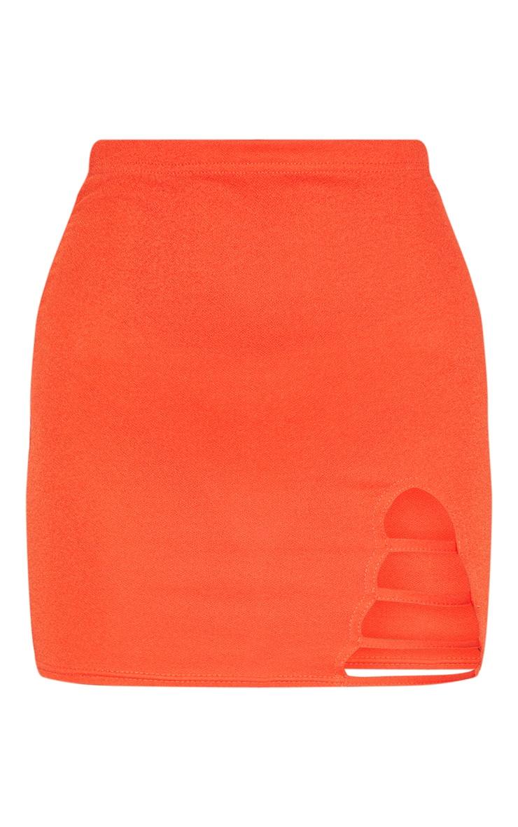 Hot Orange Ladder Detail Mini Skirt  3