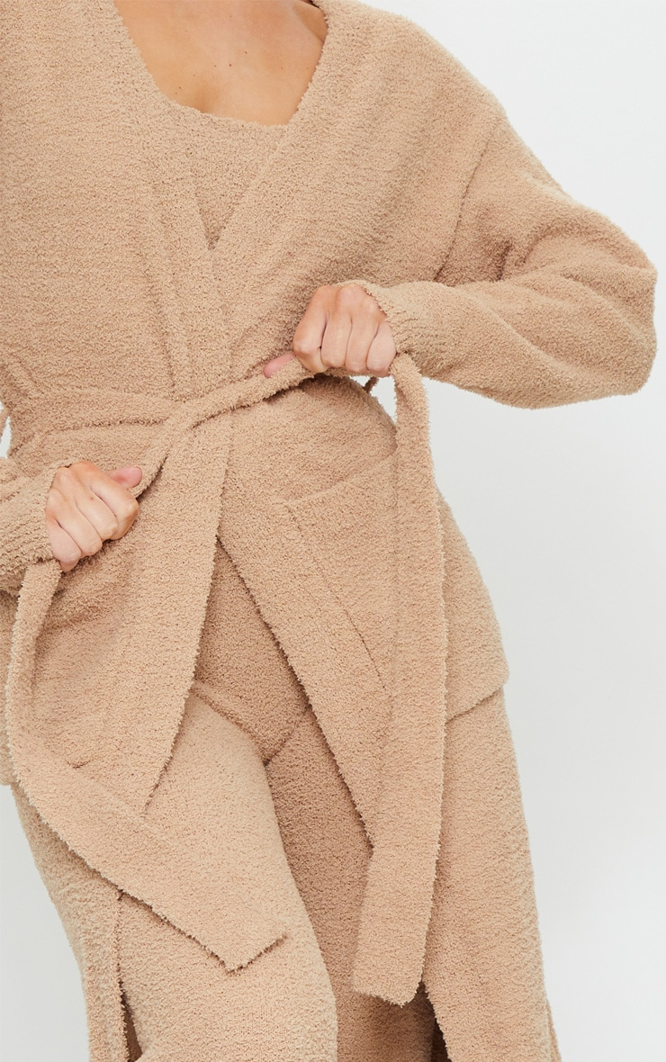 Taupe Chenille Longline Belted Pocket Detail Cardigan 4