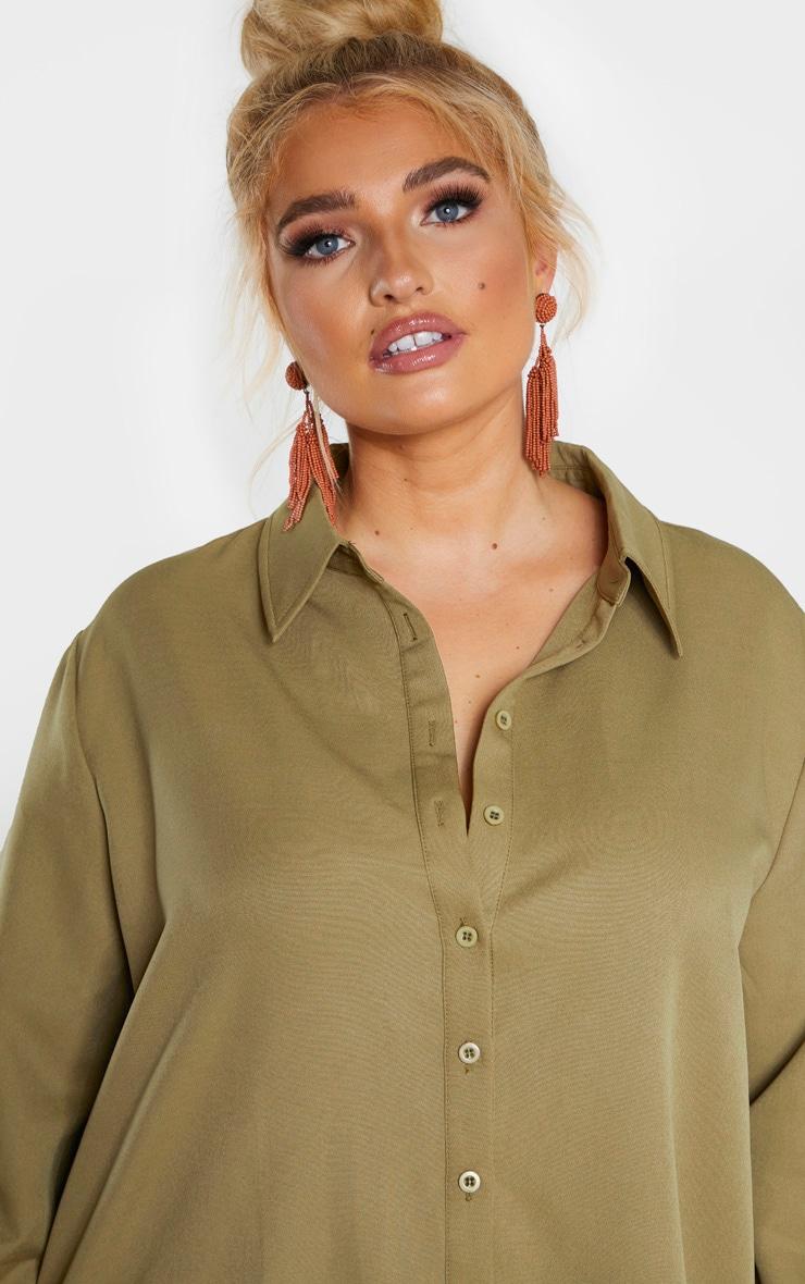 Plus Khaki Oversized Shirt 5