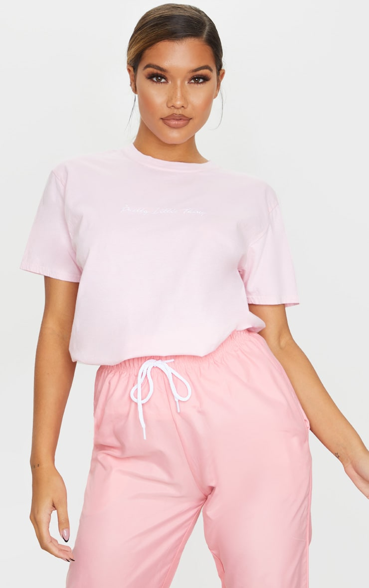 PRETTYLITTLETHING Pink Embroidered Wash T Shirt 3