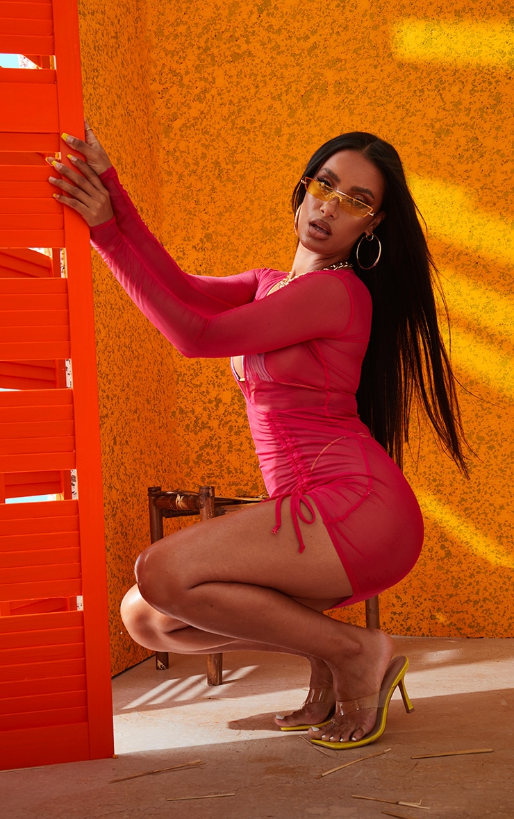 Hot Pink Mesh Ruched Plunge Beach Dress 4