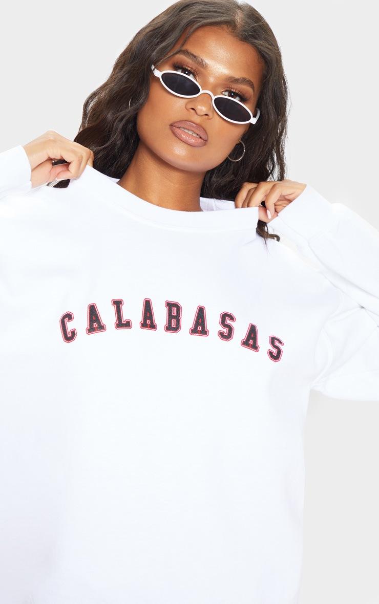 White Calabasas Slogan Sweater 5