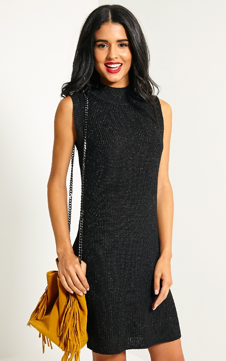 Zedanya Black Metallic Knitted Dress 1