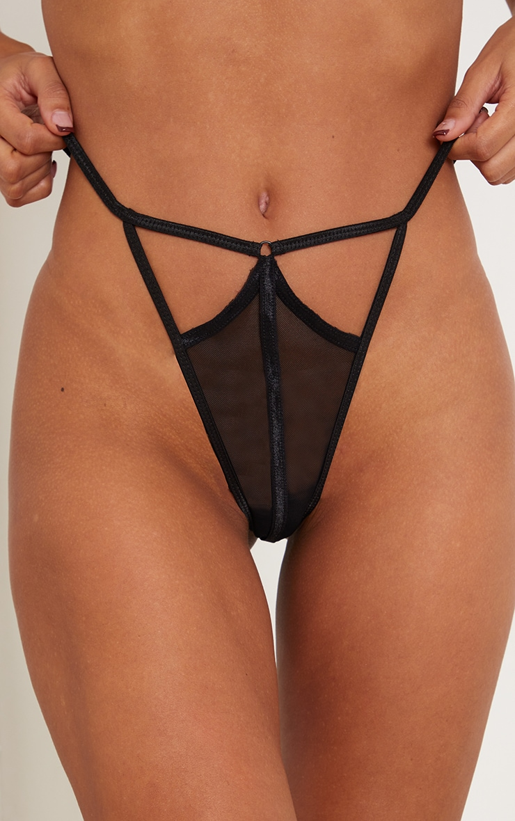 PRETTYLITTLETHING X CoppaFeel! Black Strappy Detail Mesh Thong 4