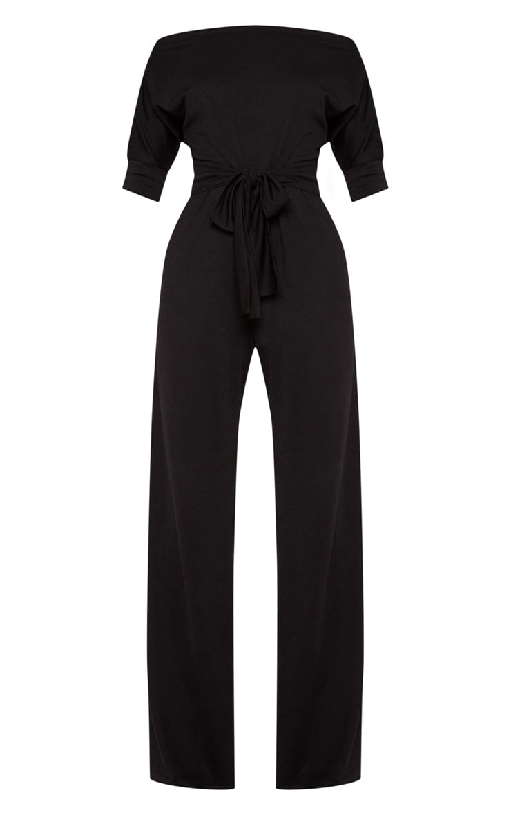 Black Off Shoulder Tie Waist Wide Leg Jumpsuit 3