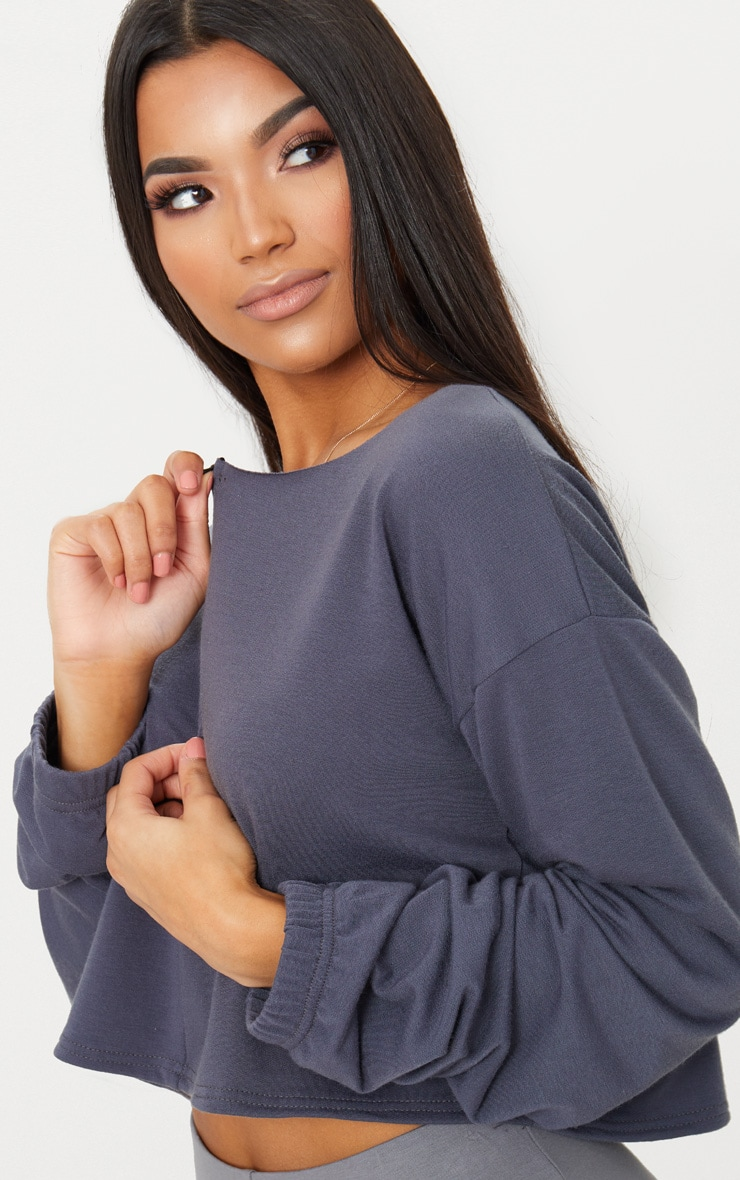 Charcoal Blue Zip Front Sweater 5