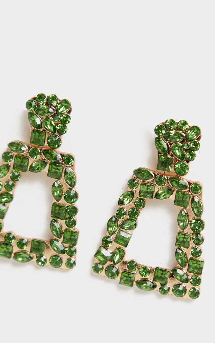 Green Crystal Multi Shape Small Door Knocker Earrings 3