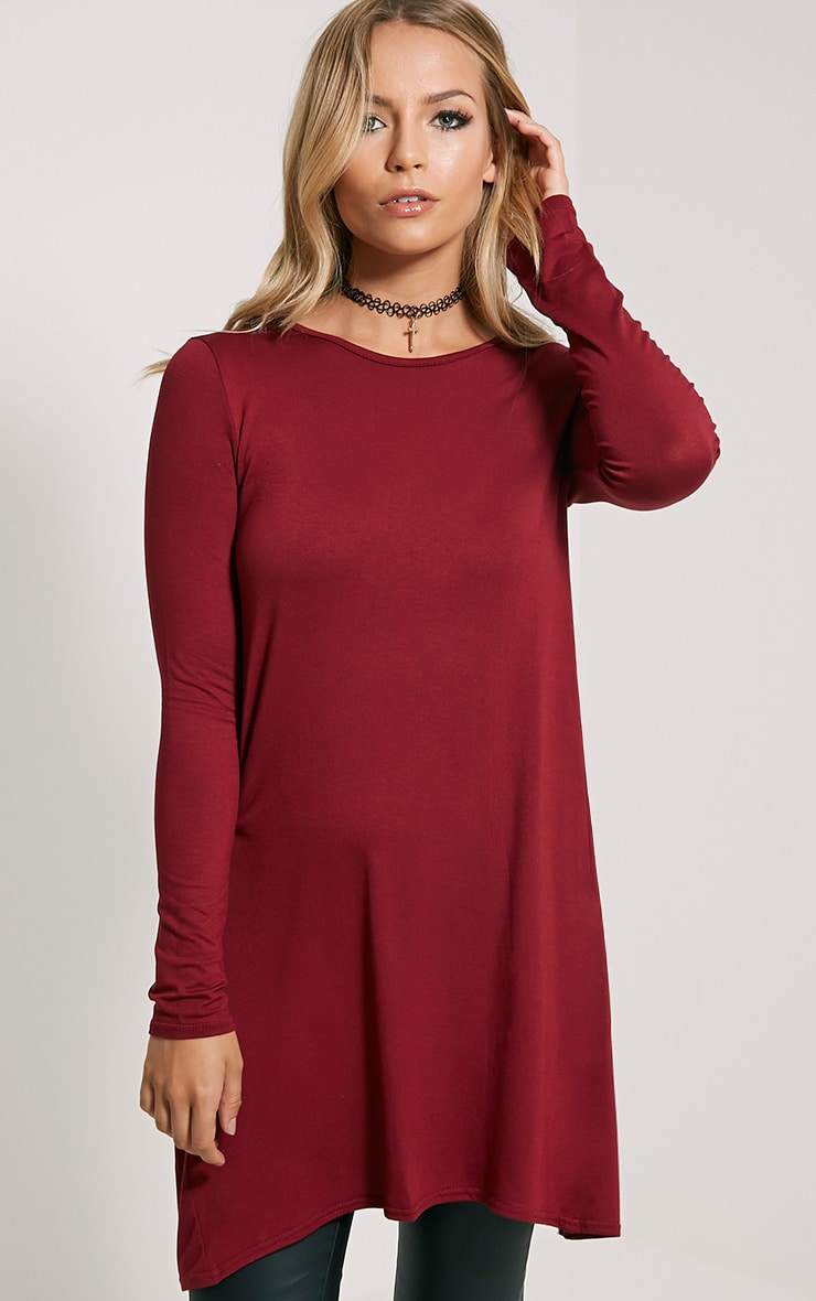 Eldora Burgundy Longline Split Back Top 4