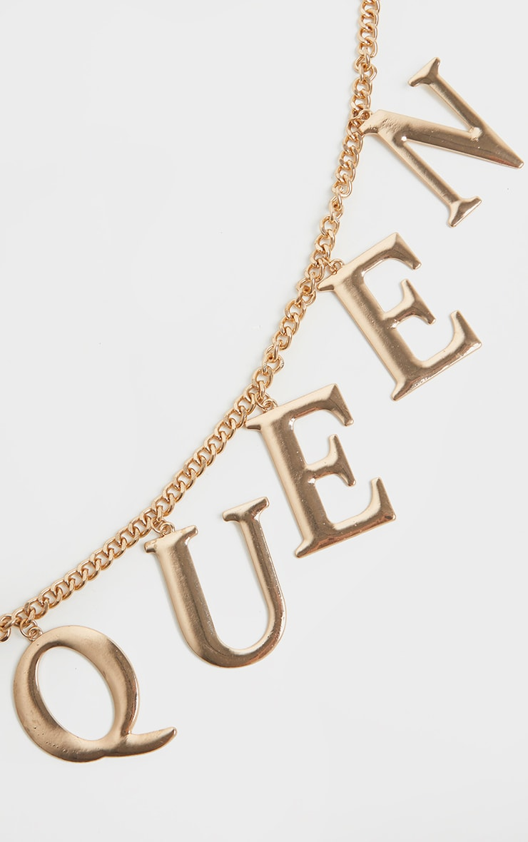 Gold Chain Queen Slogan Chain Belt 3