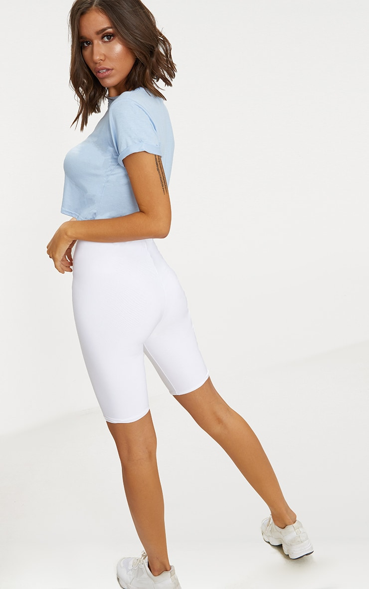 Basic Powder Blue Roll Sleeve Crop T Shirt 2