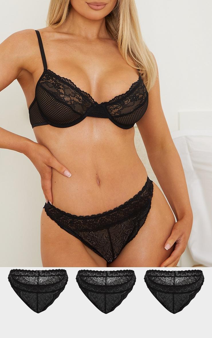 Black Lace Brazilian Knicker 3 Pack 1