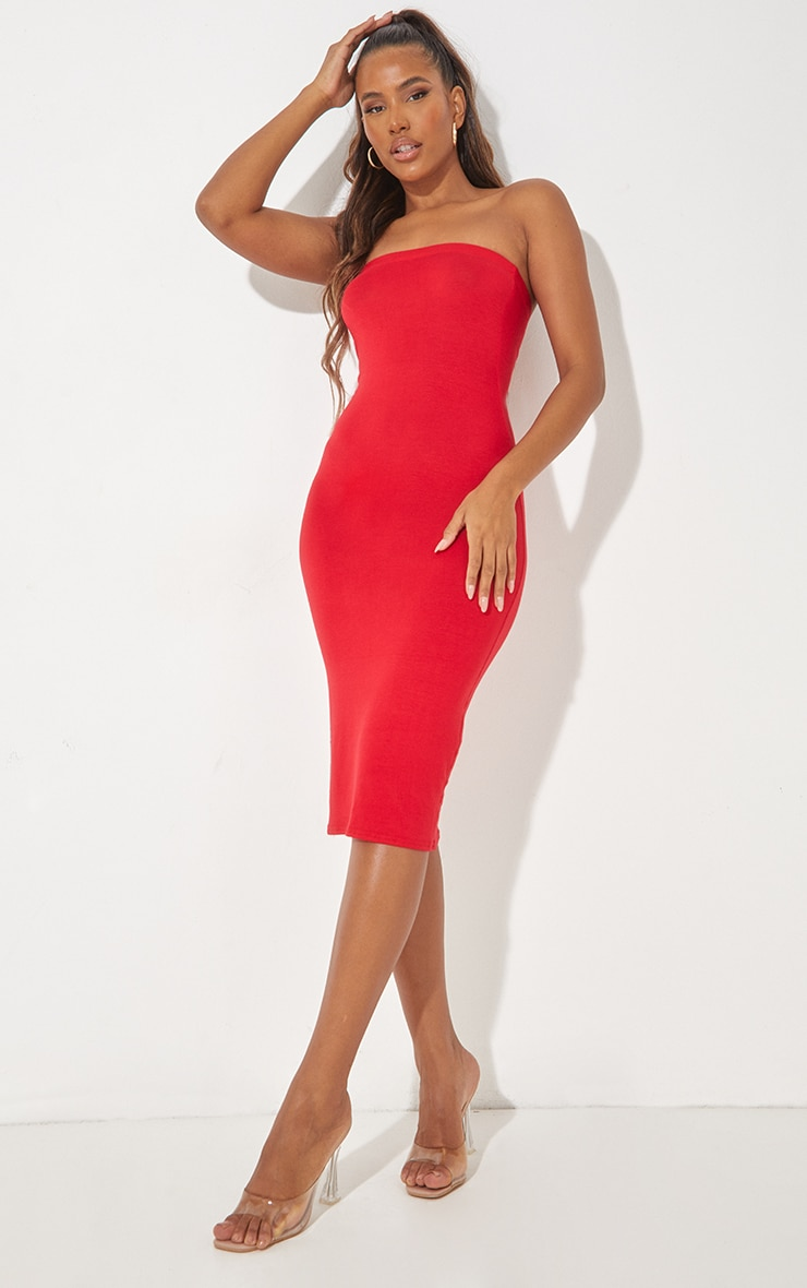 فستان ميداكسي باندو سادة باللون الأحمر 1