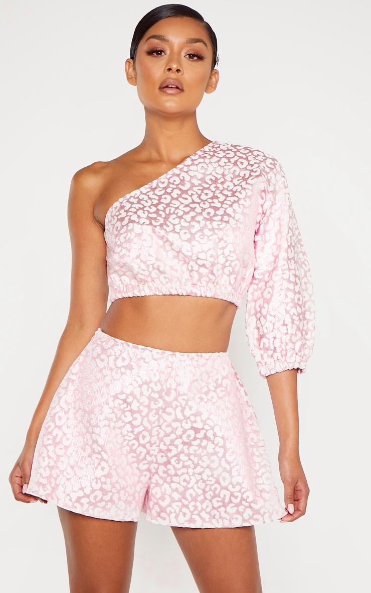 Pink Foil Print A Line Shorts 1