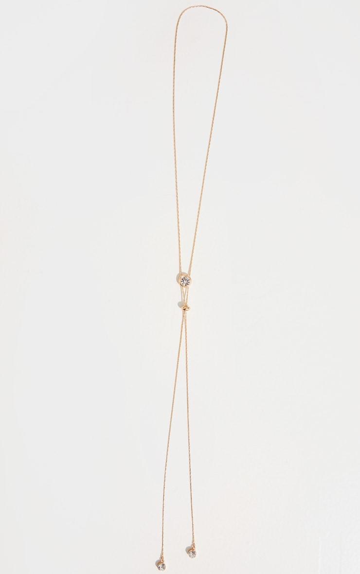 Gold Diamante Lariat Necklace 3